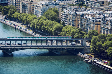 Aerial of Paris metro crossing Pont de Bir-Hakeim, Paris, France