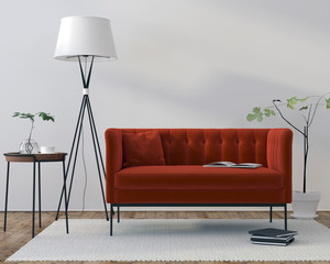 Interior with red velor sofa