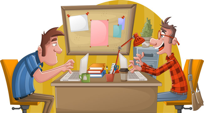 Two cartoon men working with computer. Office workspace with desks.