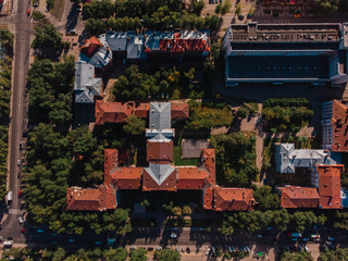 TOMSK, RUSSIA - August 5, 2018: Polytechnic University TPU Siberia, Russia. Drone aerial top view.
