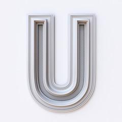 White picture frame font Letter U 3D