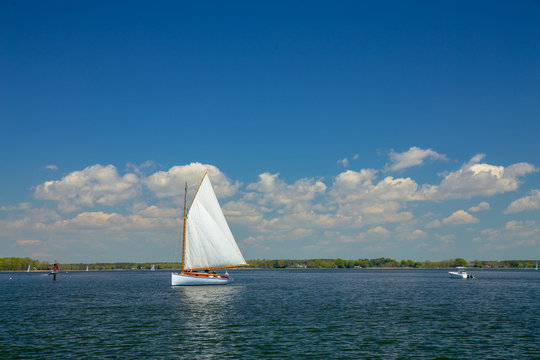 Sailboat on a Chesapeake Bay tributary on the Eastern Shore of Maryland St Michaels Talbot County Mid Atlantic USA