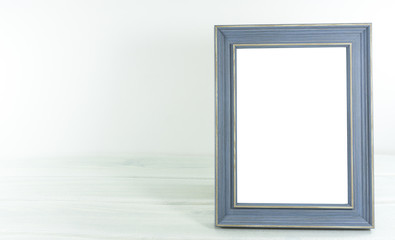 Photo wood frame vintage style on white background,copy space. .