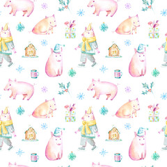 Seamless pattern of a pig, snowflakes, gingerbread, bag and gift.Christmas sketch.Symbol of the new year.Watercolor hand drawn illustration.White background.