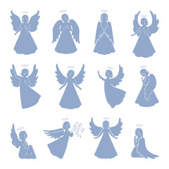 Set of twelve Angel silhouettes