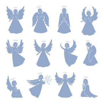 Set of twelve Angel silhouettes