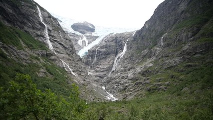 Wall Mural - Kjenndal Glacier and the Lodal Valley, Norway. Scenic Glacial Landscape.