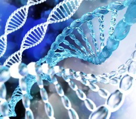 DNA. Spirals of DNA. Scientific background. 3d rendering.