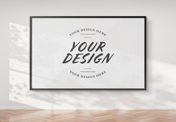 Black Framed Print Isolated on Wall Mockup