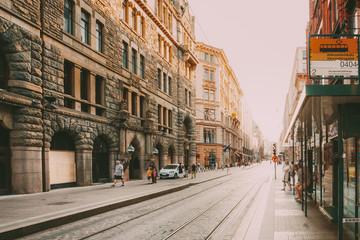 Helsinki, Finland. Tram Stop On Street Aleksanterinkatu