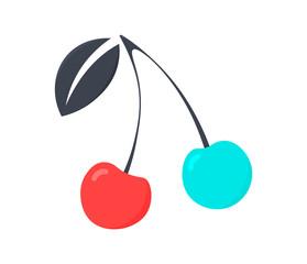 Cherry branch. Trendy logo design