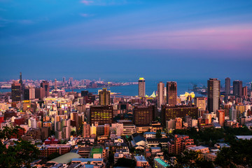 Aerial view of downtown in Kobe, Japan at sunset