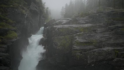 Wall Mural - Wilderness and the River in the Norway. Scenic Waterfall