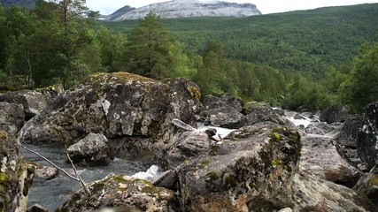 Wall Mural - Scenic Norwegian Landscape with Mountain River.