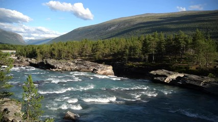 Wall Mural -  Mid August in the Norway. Scenic Norwegian Landscape with Glacial River.