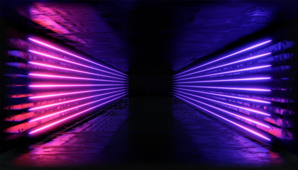 3d render. Geometric figure in neon light against a dark tunnel. Laser glow.