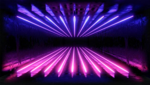 3d render. Geometric figure in neon light against a dark tunnel. Laser glow.