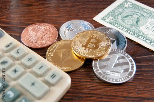 Virtual Crypto Money Bitcoin Litecoin Ethereum Ripple And A Calculator With