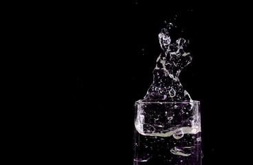 glass, splash, blue,