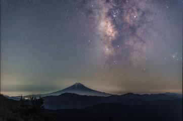 大月市大蔵高丸から富士山と天の川