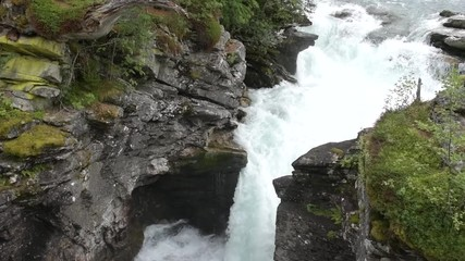 Wall Mural - Slow Motion Footage of Scenic Waterfall and the River. Norway, Europe