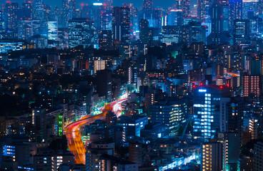 東京夜景・高層ビル群と高速道路