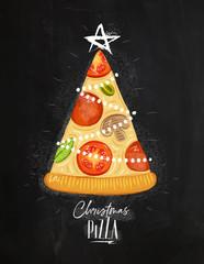 Poster christmas tree pizza chalk