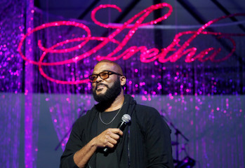 Filmmaker Tyler Perry talks about Aretha Franklin during a free tribute concert to the late Franklin in Detroit