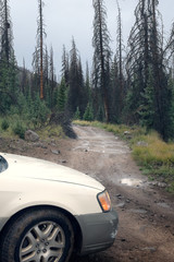 A car and a bad road.  Rio Grande National Forest,  Colorado, US