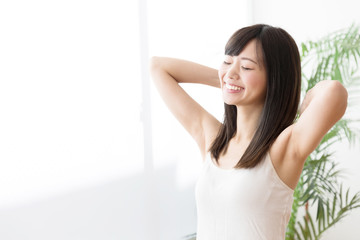 young asian woman beauty image in living room