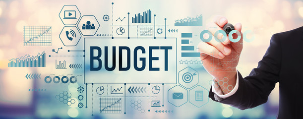 Obraz Budget with businessman on blurred abstract background - fototapety do salonu