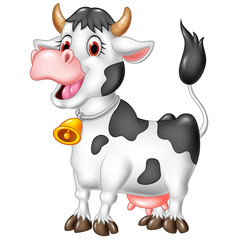 Cartoon happy cow isolated on white background