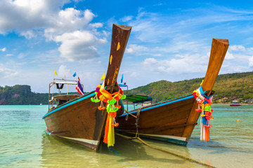 Traditional thai boat on Phi Phi Don
