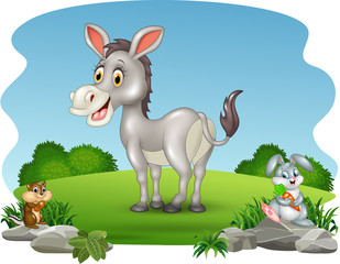 Cartoon funny donkey with nature background