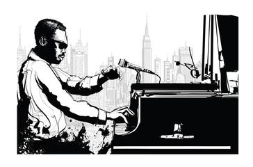 Tuinposter Art Studio Jazz pianist in New York