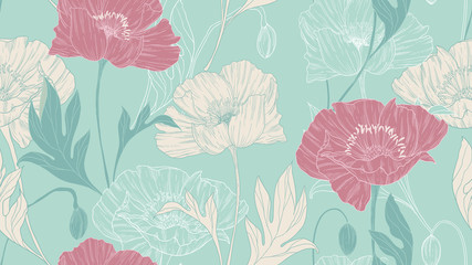 Seamless pattern, hand drawn pastel poppy flowers with leaves on green background