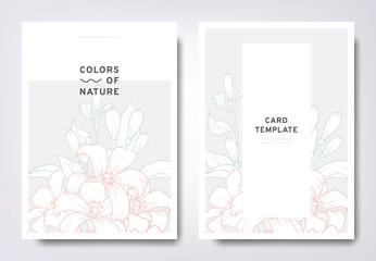 Floral greeting/invitation card template design, hand drawn Orange Jessamine with leaves, minimalist pastel style