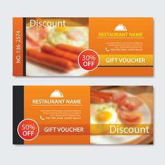 Discount voucher breakfast template design. Set of fried egg, bacon,  sausage.
