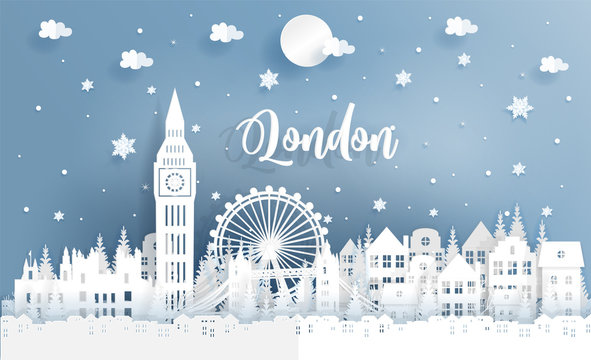 Winter and Christmas in London with city and falling snow. Paper cut style vector illustration.