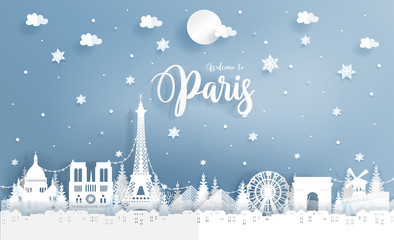Wall Mural - Winter in Paris, France with world famous landmark and falling snow. Paper art vector illustration