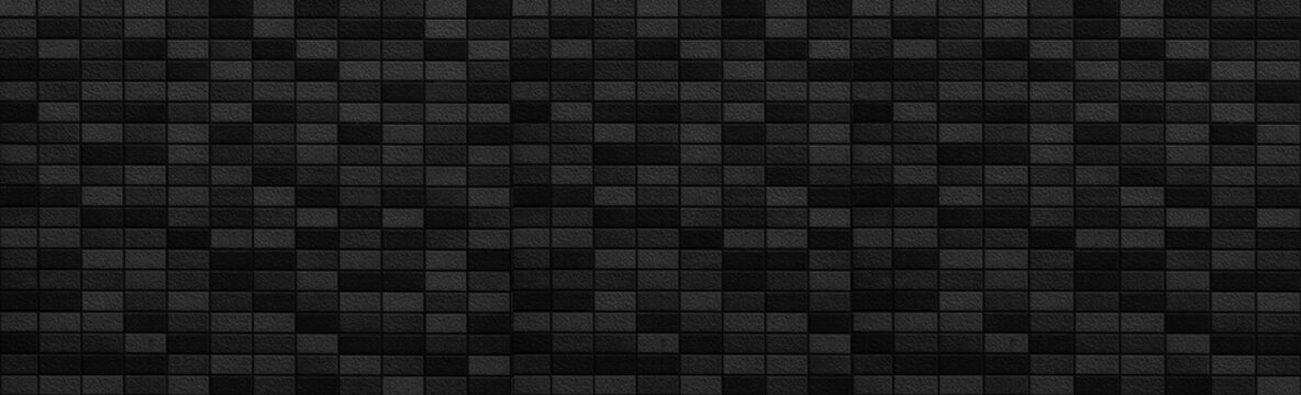 Panorama of black modern stone wall pattern and background