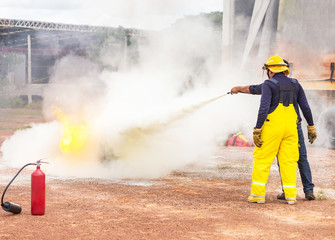 Basic fire fighting training and fire drill evacuation