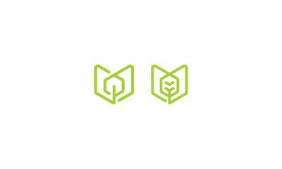 line art abstract tree logo icon vector