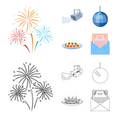 A video camera with smoke, a twirling holiday ball, a plate of sandwiches, an envelope with a greeting card. Event services set collection icons in cartoon,outline style vector symbol stock
