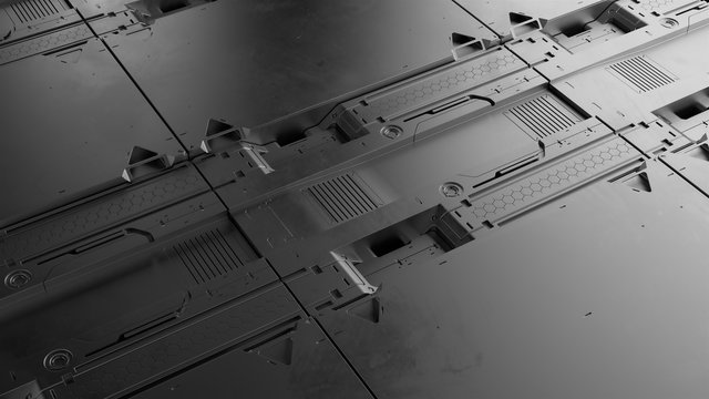 3d render sci-fi high detailed surfaces. Future background with complex forms and shapes. Technology illustration.