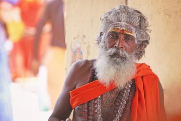 Portrait of Indian Sadhu Posing to Camera