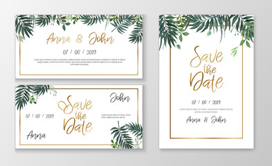 Vector romantic wedding invitation template with watercolor style plants and gold typography
