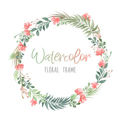 Vector romantic round floral frame with plants and flowers in watercolor style isolated on white background - great for invitation or greeting cards