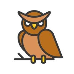 owl, halloween character editable stroke