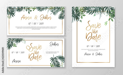 Vector Wedding Invitation Template With Watercolor Style Plants And Gold Typography